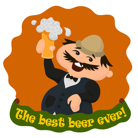 englishman: Happy Englishman with glass of tasty beer. The best beer ever. Vector illustration isolated on white.