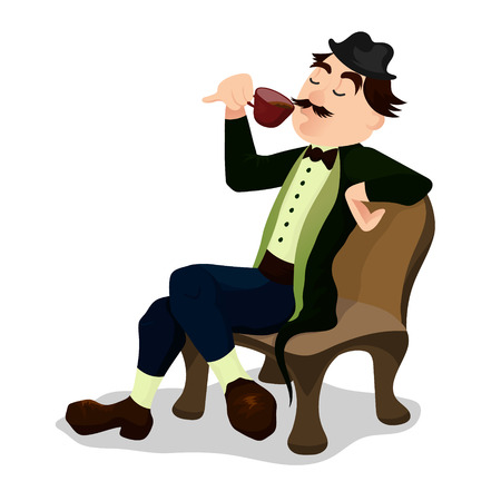 Englishman drinking tea from a little teacup and extend his pinky finger. Colorful flat vector illustration isolated on white