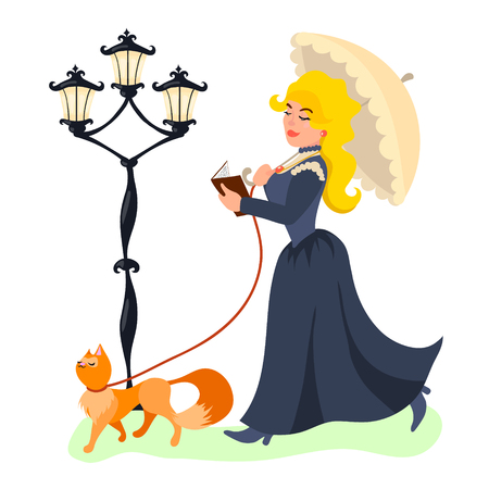 Vector illustration of a young beautiful lady walking with her cat and reading book.