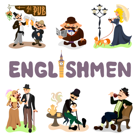englishman: Set of typical Englishmen. Drinking tea, walking in a park, reading a book, tasting beer. Flat vector illustration