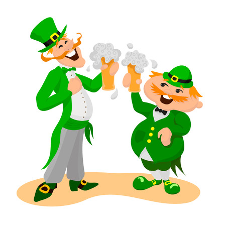 Saint Patricks day. Two happy Englishmen with glasses of beer. Vector illustation on white background.