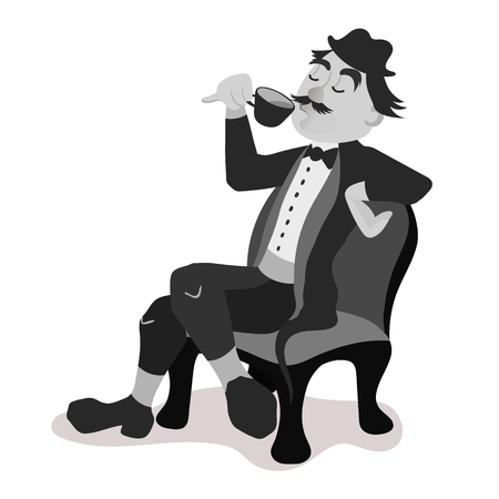 englishman: Englishman drinking tea from a little teacup and extend his pinky finger. Black and white isolated vector illustration.