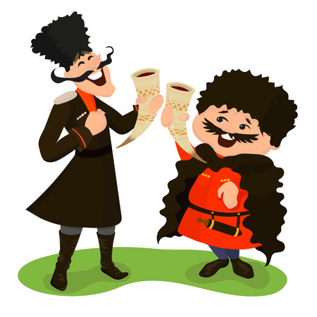 cloak and dagger: Two happy cossacks with wine horns. Vector illustration isolated on white. Cute cartoon characters in flat style Illustration