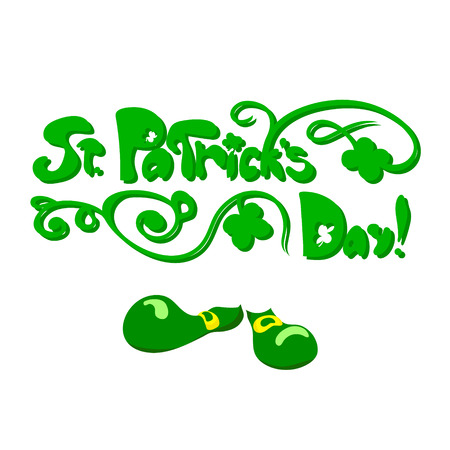 Saint Patricks day floral lettering. Vector illustration on white background. Greetings card. Some signs of the celebration