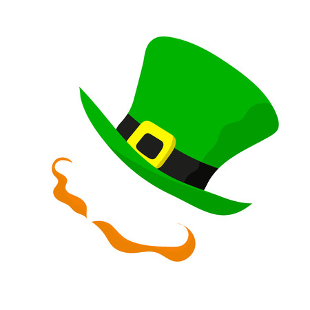 Saint Patricks day. Vector illustration on white background. Main signs of the celebration - red-haired handlebars and green hat.