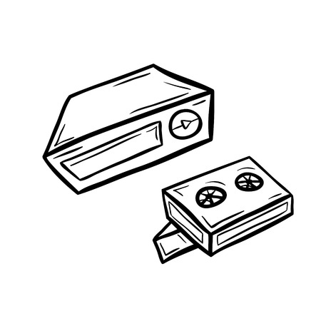 videotape: Videoplayer with two cassettes in doodle style. Hand drawn vector illustration isolated on white.
