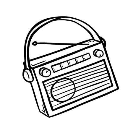 dimer: Retro radio in doodle style. Hand drawn vector illustration isolated on white.