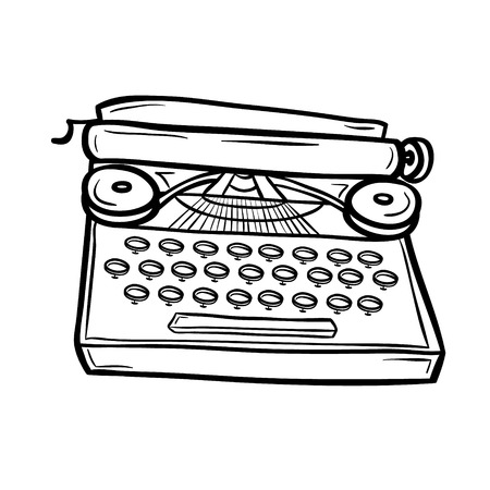 Typewriter in doodle style
