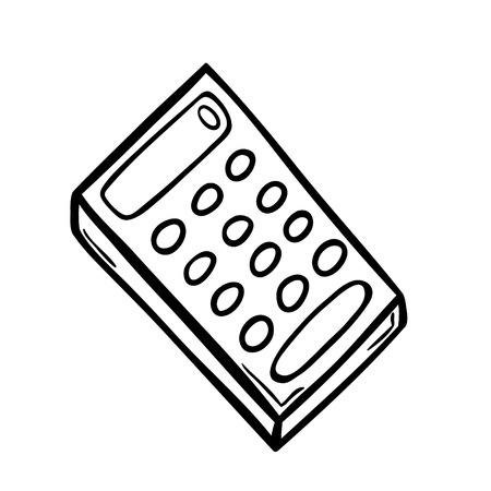 addendum: Old calculator in doodle style. Illustration
