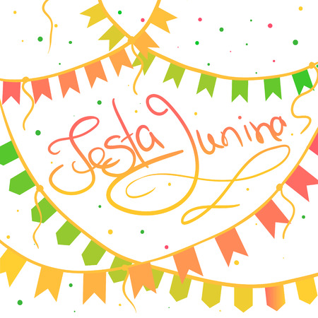 Festa junina greeting card on the white background with flags and lettering. Hand drawn vector illustration.