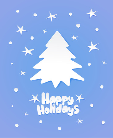 Greeting card with Chrismas tree and lettering with wishes. Winter holidays. Flat white paper imitation on light blue background