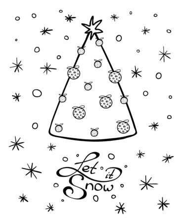 Greeting card with Chrismas tree and lettering with wishes. Winter holidays. Black and white hand drawn vector illustration on white background