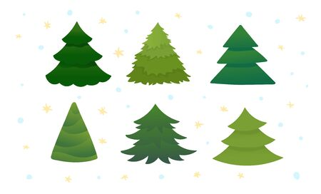 Set of bright green christmas trees