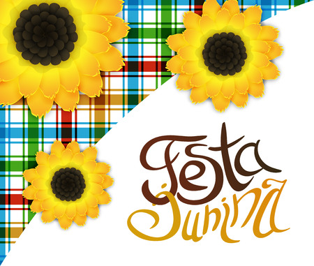 Festa junina poster with lettering and sunflowers
