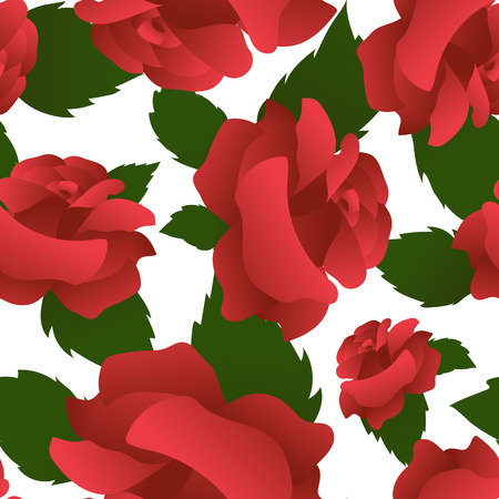 Seamless floral pattern with roses. Big single blooms and green leaves united in mosaic. Vector illustration Illustration