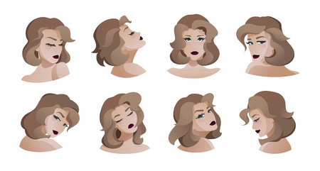 Collection of beautiful young women. Modern flat cartoon style. Front view, side view, back view. Elegant hairstyle, variety poses. Vector illustration isolated on white. 向量圖像