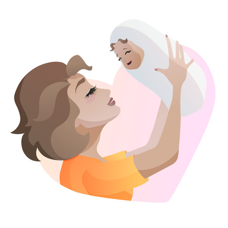 Young mother with baby in hands. Illustration