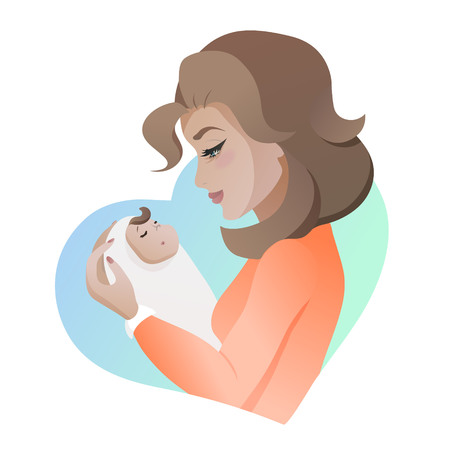 Young mother with baby in her hands Illustration