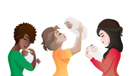 Set of young multinational mothers with babies