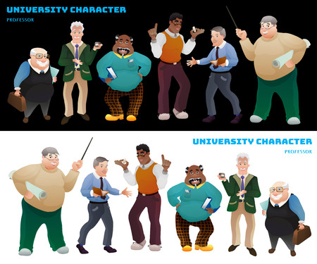 Set of university professors. Illustration