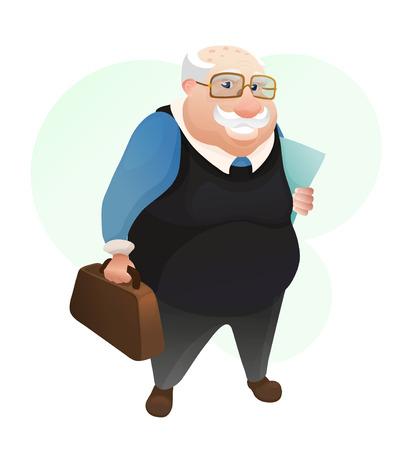 Uomo anziano sorridente con borsa in pelle e documenti