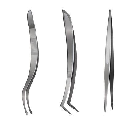 Ensemble de pincettes en acier, illustration vectorielle isolée sur blanc Vecteurs