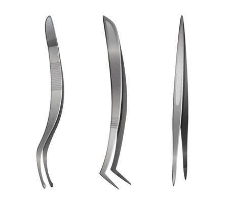Set of steel tweezers, vector illustration isolated on white  イラスト・ベクター素材