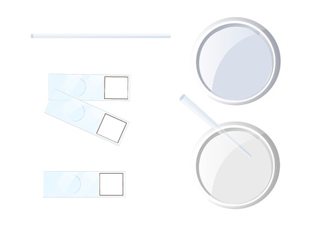 Set of chemistry or biology experimentation tools. Two variations of Petri dish, glass for microscope preparations. Vector illustration isolated on white.