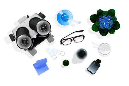 Top view on the table with education tools for chemistry or biology. Vector illustration isolated on white, cartoon style.