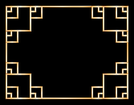 Asian ornamented golden frame on a dark background 向量圖像