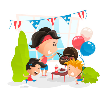 Making BBQ at Independence Day of America Stock Illustratie