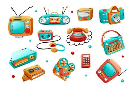 Retro devices in mixed style, flat cartoon comics.