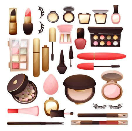 Set of cosmetics in flat style vector illustration