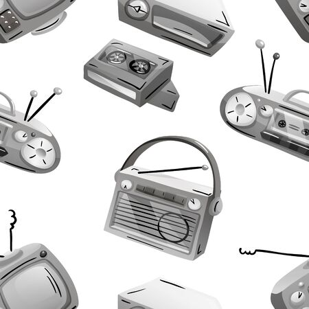Seamless pattern with retro devices in grayscale