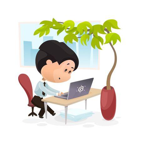 A man works at the computer, flat cartoon vector
