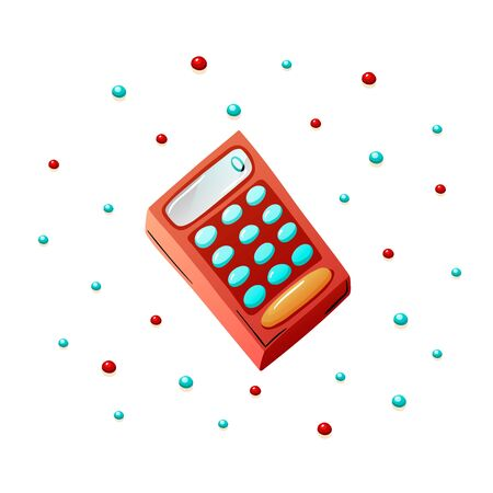 Red cartoon calculator in flat doodle style