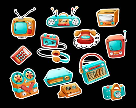 Stickers with retro devices in funny mixed style 일러스트