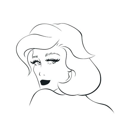 Outline portrait of young beautliful woman, looking over her shoulder pose.