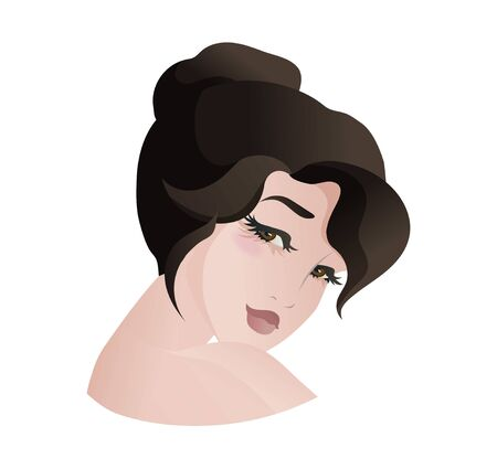 Portrait of beautiful asian woman, bowed her head to her shoulder, side view. Vector illustration isolated on white