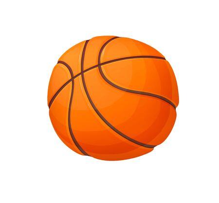 Orange basketball ball in cartoon style, vector