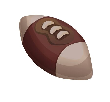 Rugby ball in flat cartoon style, american football Çizim