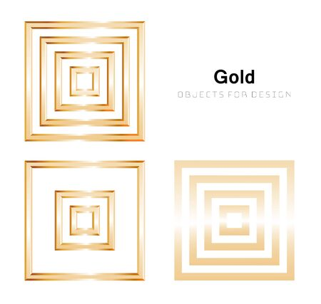 Vector set of golden squares, different sizes