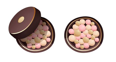 Face powder pearls in cartoon style, vector