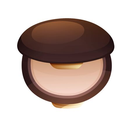 Facial compact powder in flat cartoon style.