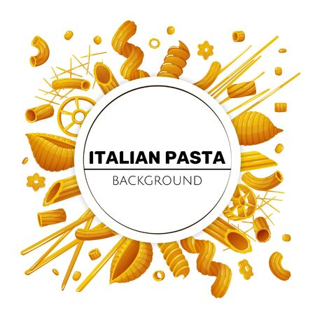 Round background with different types of pasta Çizim