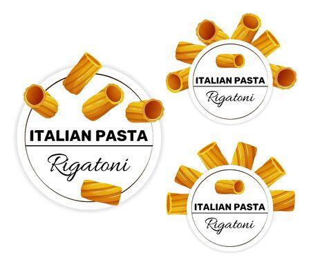 Set of labels for italian pasta, rigatoni 矢量图像