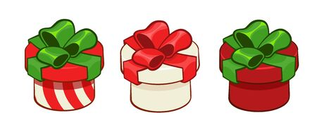 Three gift boxes in tratitional Christmas colors