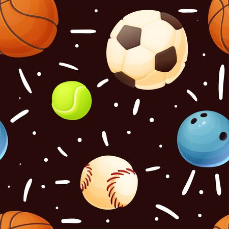 Funny seamless pattern with sport balls, vector Çizim