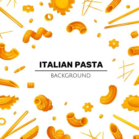 Bright rame with different types of pasta Illustration