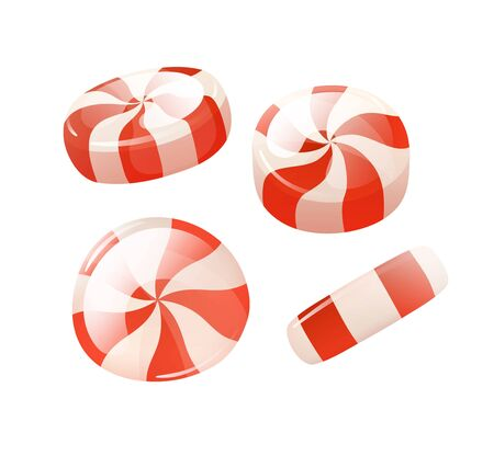 Vector stripped red white peppermint round candies Illustration